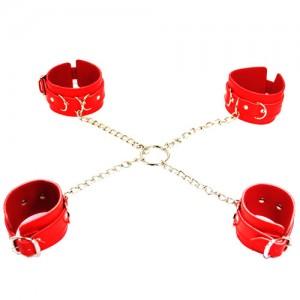 Бондажный набор из наручников и поножи красный