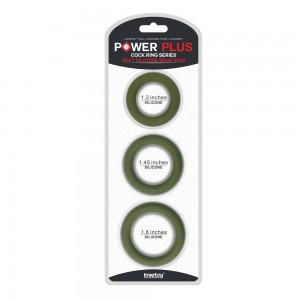 Набор эрекционных колец Power Plus Soft Silicone Snug Ring зеленого цвета