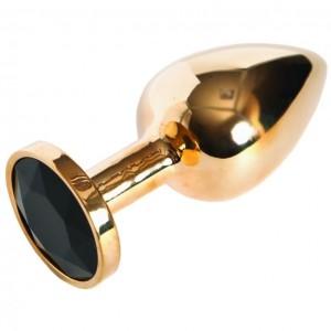 Золотистая анальная пробка с чёрным камушком М