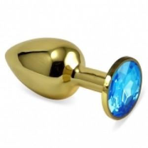 Золотистая анальная пробка с голубым камушком S