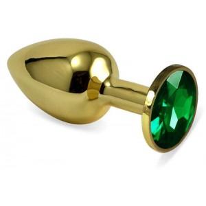 Золотистая анальная пробка с зеленым камушком S