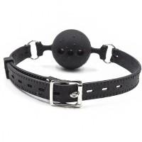 Силиконовый черный кляп Plug the ball 3,5 см