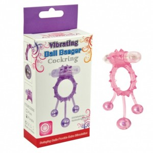 Эрекционное кольцо с вибрацией Ball Banger Cock Ring 3 balls + Vibe розовое