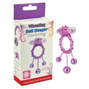 Эрекционное кольцо с вибрацией Ball Banger Cock Ring 3 balls + Vibe фиолетовое