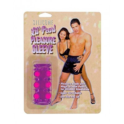 Открытая насадка на пенис с шариками Silicone Lil Pearl Pleasure Sleeve Purple