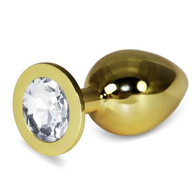 Анальная пробка Gold Clear Rosebud L