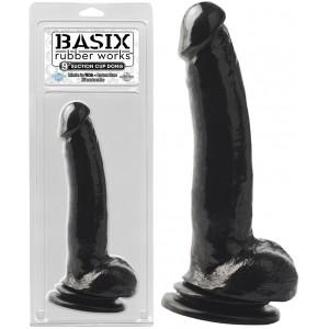 "Фаллоимитатор с мошонкой на присоске Basix Rubber Works 9"" Suction Cup Thicky Black"
