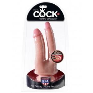 Двойной фаллоимитатор с присоской King Cock Plus Dual Density Double Penetrator