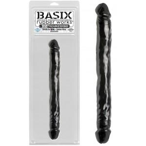 """Двухсторонний фаллоимитатор Basix Rubber Works 12"""" Double Dong Black"""