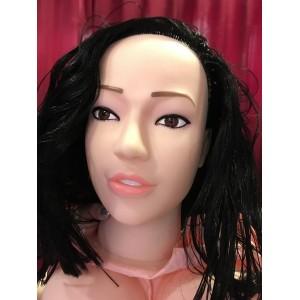 Кукла для секса с вибрацией 3D Face Love Doll брюнетка
