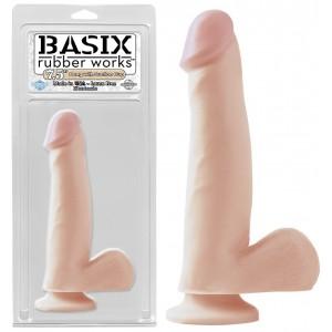 """Фаллоимитатор с мошонкой на присоске Basix Rubber Works 7.5"""" Suction Cup Dong Flesh"""