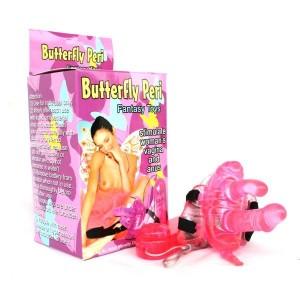 Вибро-бабочка на ремешках розовая