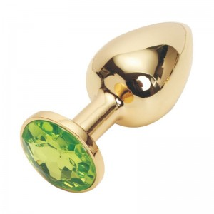 Анальная пробка Anal Jewelry Plug Gold Light Green S