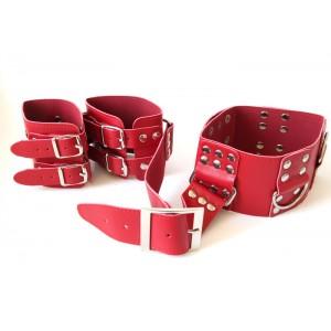 Бондаж БДСМ красные ошейник и наручники