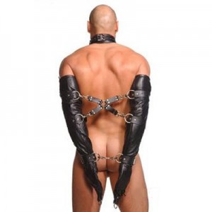 Строгий кожаный бондажный армбиндер