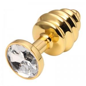 Анальная пробка рельефная Gold Relief Diamond S