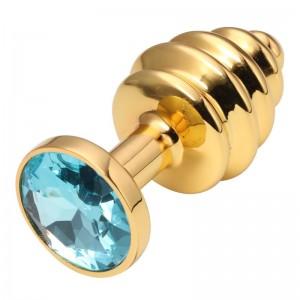 Анальная пробка рельефная Gold Relief Light Blue S