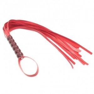 Плеть-флогер красная с деревянной рукоятью