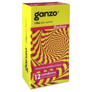Презервативы Ganzo Extase №12 (Точечно-ребристые)