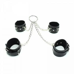Бондажный набор из наручников и поножи черный