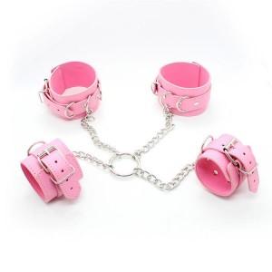 Бондажный набор из наручников и поножи розовый