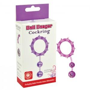 Кольцо с 2 утяжеляющими шариками фиолетовое Ball Banger Cock Ring 2 balls