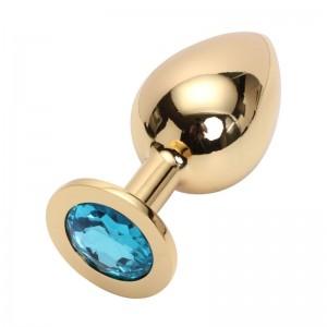 Анальная пробка Anal Jewelry Plug Gold Light Blue L